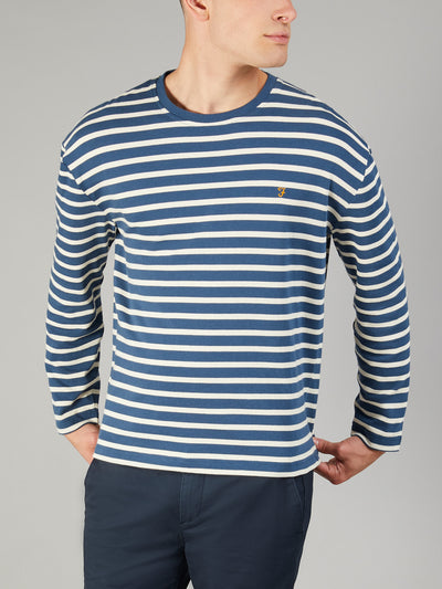 Bain Striped Long Sleeve Drop Shoulder T-Shirt In Bobby Blue