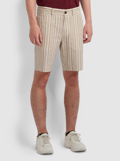Hawk Striped Seersucker Shorts In Russet