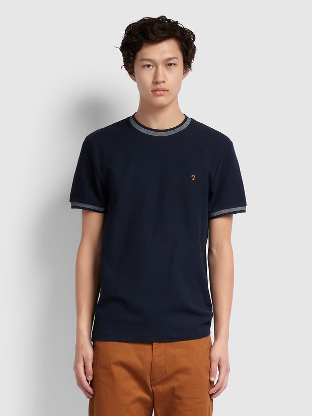 Potter Slim Fit Ringer T-Shirt In True Navy