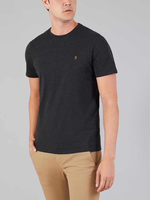 Denny Slim Fit Marl T-Shirt In Black Marl