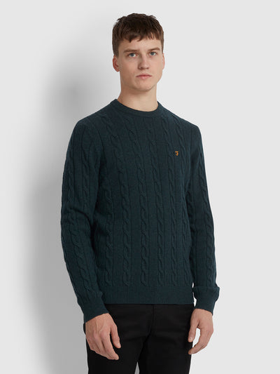 COBBY WOOL BLEND CABLE KNIT CREW NECK JUMPER IN DEEP OLIVE