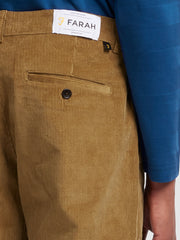 Elm Regular Fit Stretch Cord Trousers In Tobacco