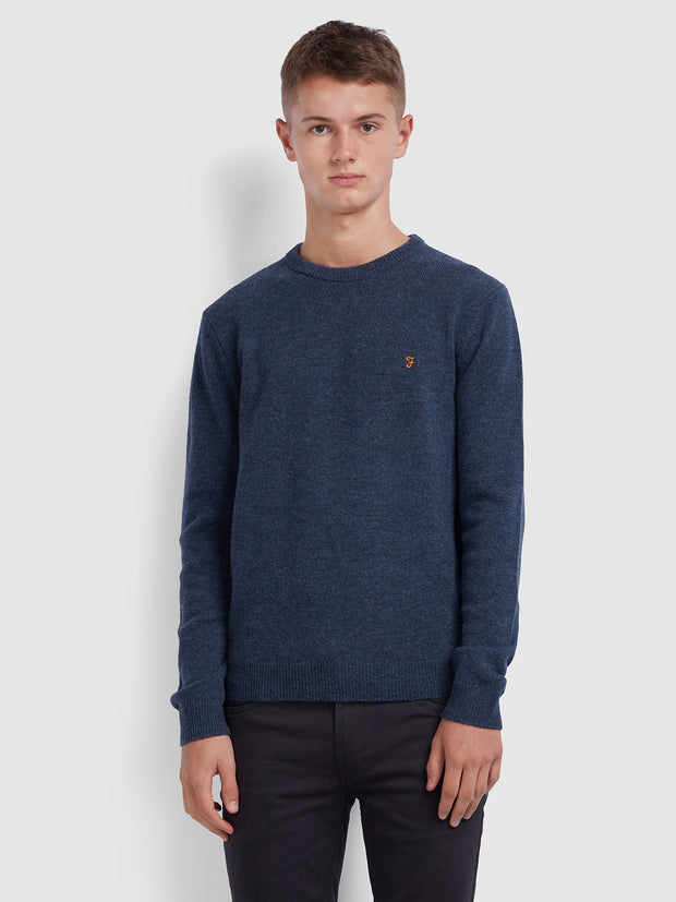 ROSECROFT LAMBSWOOL CREW NECK JUMPER IN TAR