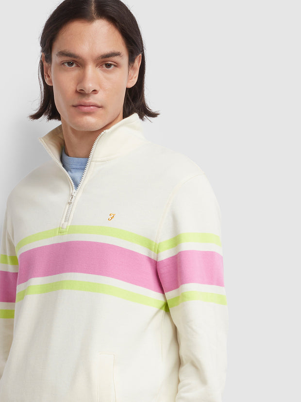 Love Cotton Striped Quarter Zip Sweatshirt In Ecru