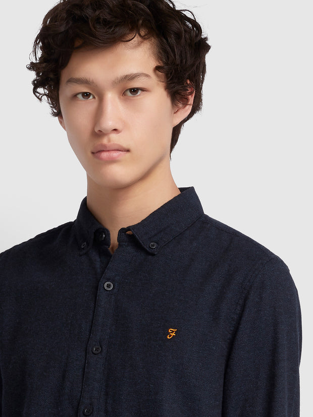 Kreo Slim Fit Brushed Cotton Shirt In True Navy