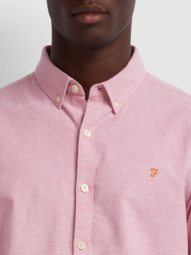 Steen Slim Fit Brushed Cotton Oxford Shirt In Dusty Rose