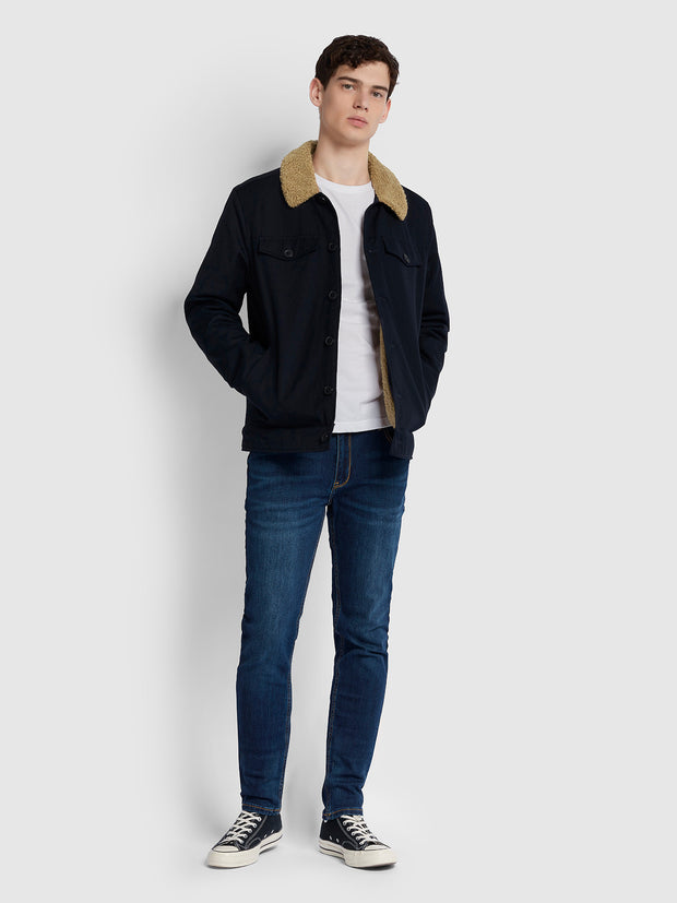 VADHER TRUCKER JACKET IN TRUE NAVY