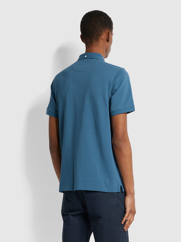 Ricky Slim Fit Organic Cotton Polo Shirt In Cold Metal