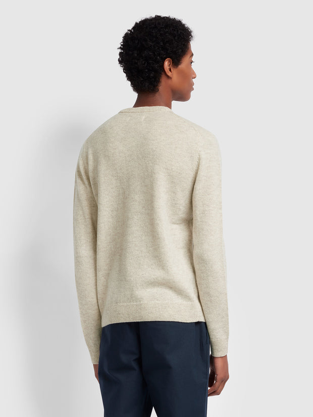 ROSECROFT LAMBSWOOL CREW NECK JUMPER IN LINEN