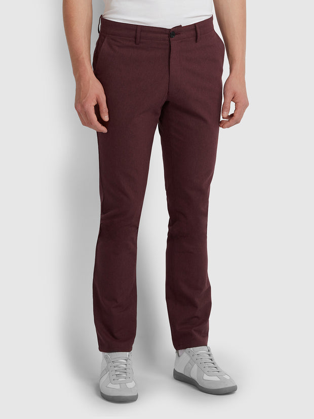 ELM REGULAR FIT COTTON HOPSACK TROUSERS IN FARAH RED