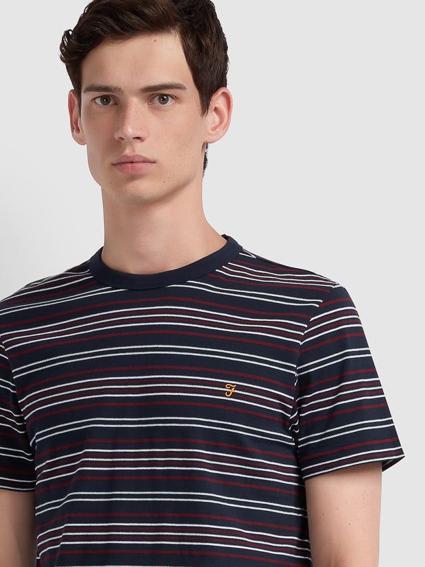 Rosedale Slim Fit Striped T-Shirt In True Navy