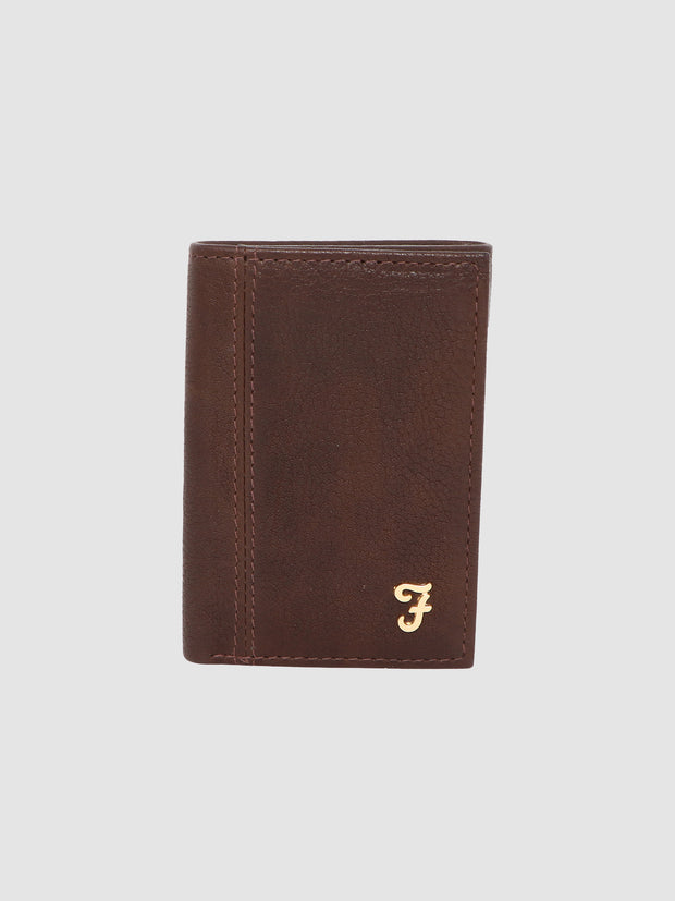 ASHINGTON GRAIN LEATHER TRI FOLD WALLET IN CHESTNUT