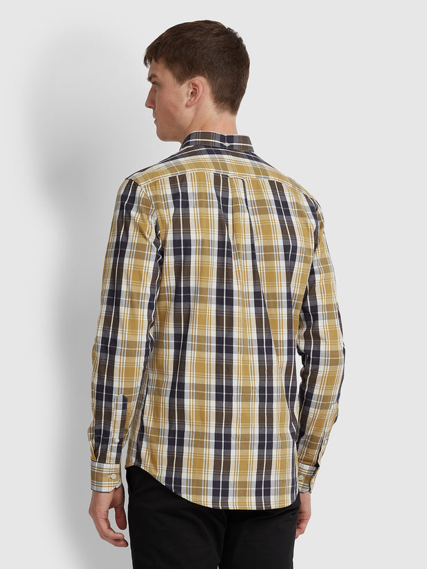 BREWER SLIM FIT TARTAN OXFORD SHIRT IN GOLD