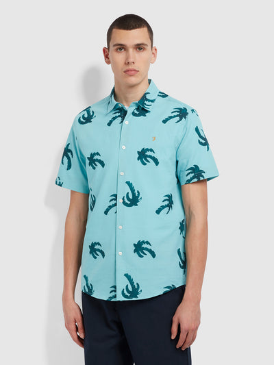 Elena Casual Fit Short Sleeve Palm Print Organic Cotton Shirt In Reef Green