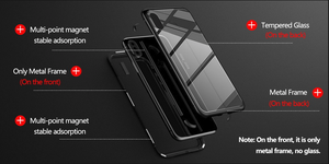 Vincitti- Tempered Glass, Anti-Scratch, Shatter proof Metal Magnetic Case For IPhone