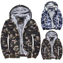 Load image into Gallery viewer, Mens Camouflage Hoodie Winter Warm Fleece Zipper Sweater Jacket Outwear Coat