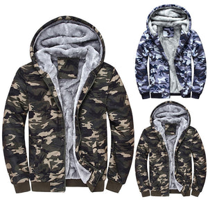 Mens Camouflage Hoodie Winter Warm Fleece Zipper Sweater Jacket Outwear Coat