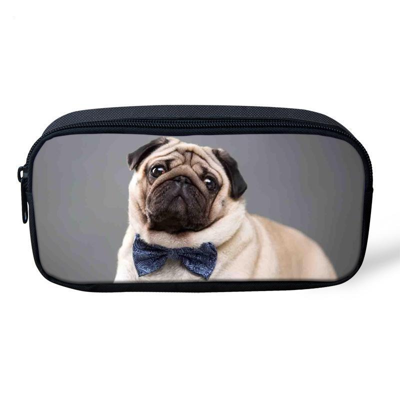 Pencil Bag For Student Cute 3D Pug Dog Children School Supplies Women Makeup Cases