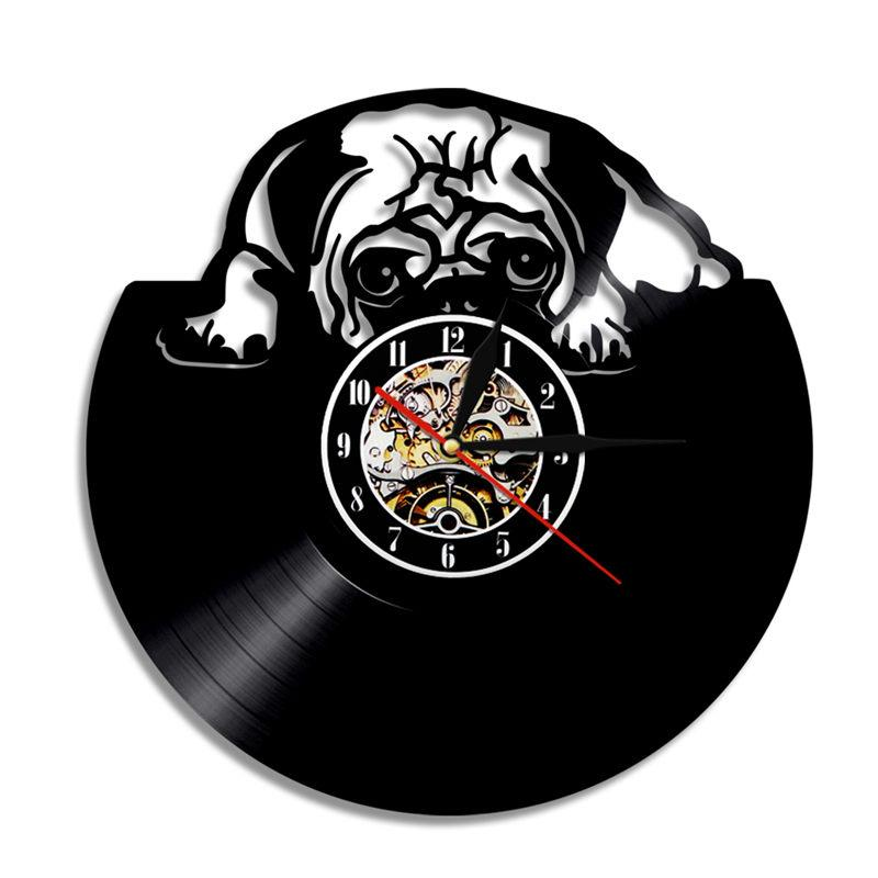 1 pc. Cute Pug Silhouette LED Lighting Wall Vinyl Clock Color Changing Wall Light Remote Controller
