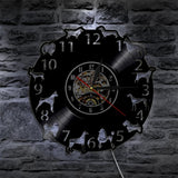 1Piece Lovely All Dog Breeds Led Vinyl Wall Clock Light Color Changing LP Vintage Handmade
