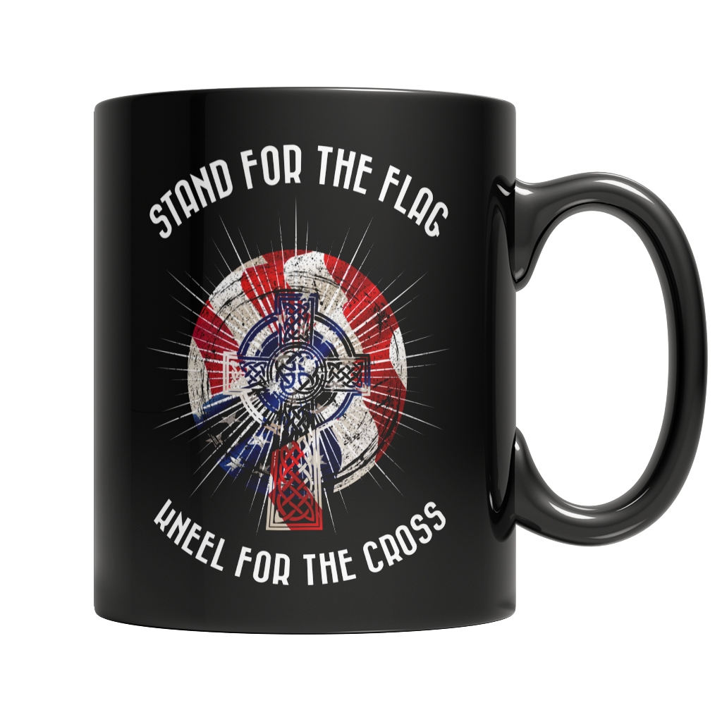 Limited Edition - Stand For The Flag Kneel For The Cross Black Mug