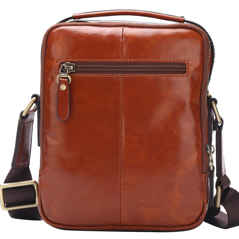 BISON DENIM Genuine Leather Men's Ipad Bag Vintage Casual Handbags Bag 2018