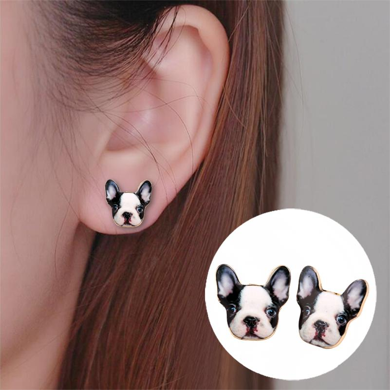 French Bulldog Stud Earrings for Women Cute Puppy Dog 2018
