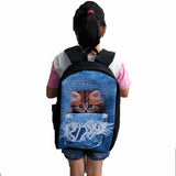 3-D Denim Jean Cute Backpack Women Men Cat Dog Teen School Backpack
