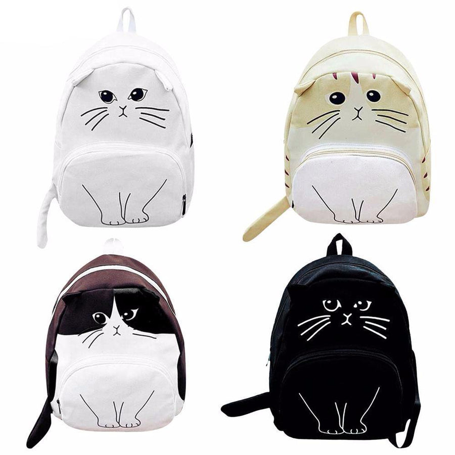 Lovely Cat Backpack Canvas School Teenagers Ladies Casual Cute Rucksack Bookbag