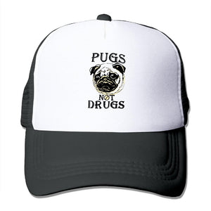 Unisex Baseball-caps Mesh Back PUGS NOT DRUGS Cap Hats hip hop hat vary colors flexable