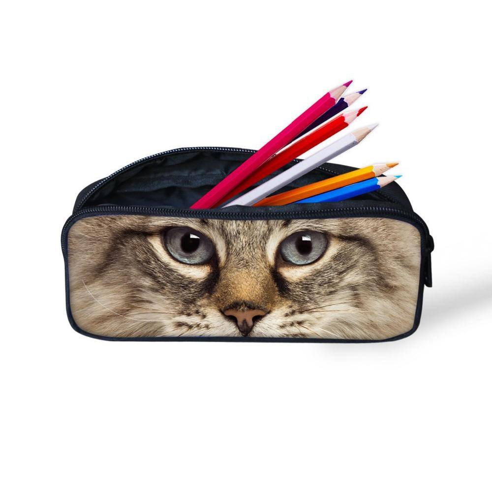 Pencil Bag For Student Cute 3D Cat Children School Supplies Women Makeup Cases