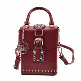 New Women Rivet Box designer leather Shoulder bag Fashion  bag 2018 Ladies Red luxury high quality