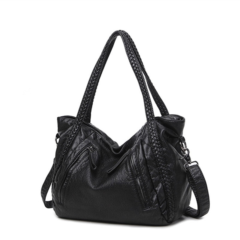 Large Women's Soft Leather Handbags Ladies Motorcycle Crossbody