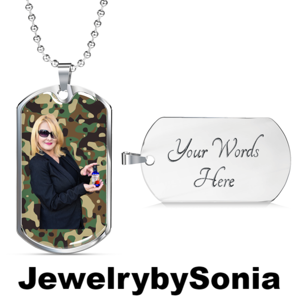Dog tag with engraving Personalize this Silver Dog Tag for your loved one with engraving on back. Uploaded your photo