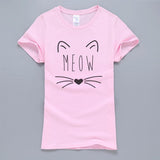 Meow Cat Kitty Women teen T Shirt 2018 Winter Hot Sale 100% Cotton Short Sleeve T-Shirt