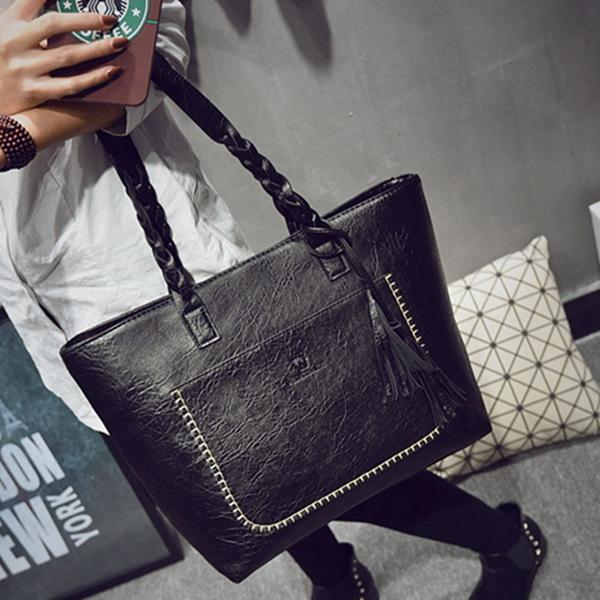 Leather Tassel Women's Handbag Shopper Totes Luxury Designer New 2018