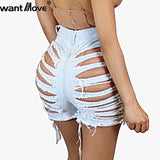 Jeans Plus Size Womens High Sexy Waist Back Denim Shorts 2018 New Hot Shredded Casual Booty Shorts