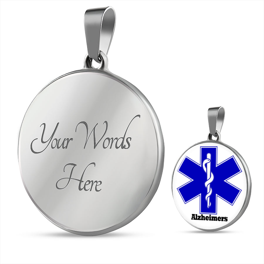Alzheimer's Silver Medical Id Necklace with Gold Option | Silver Alzheimer Medical Alert Necklace