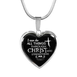 Heart Pendant I can do all things thru Christ Free Engraving