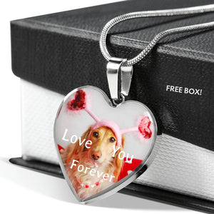 Love You Forever Golden Retriever Silver Heart Necklace