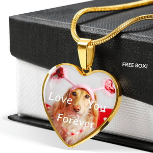 Love You Forever Golden Retriever 18K Gold Plated Heart Necklace Gift