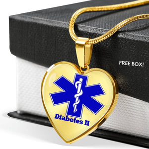 Customized Gold Plated Diabetes Medical ID Necklace for Women | Diabetes Necklace Type 2