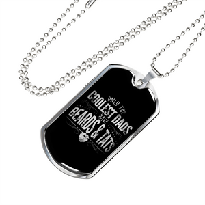 Don't Forget Dad - Birthday or Christmas Gift Coolest Dad Beards Tattoo Dog Tag with Free Engraving