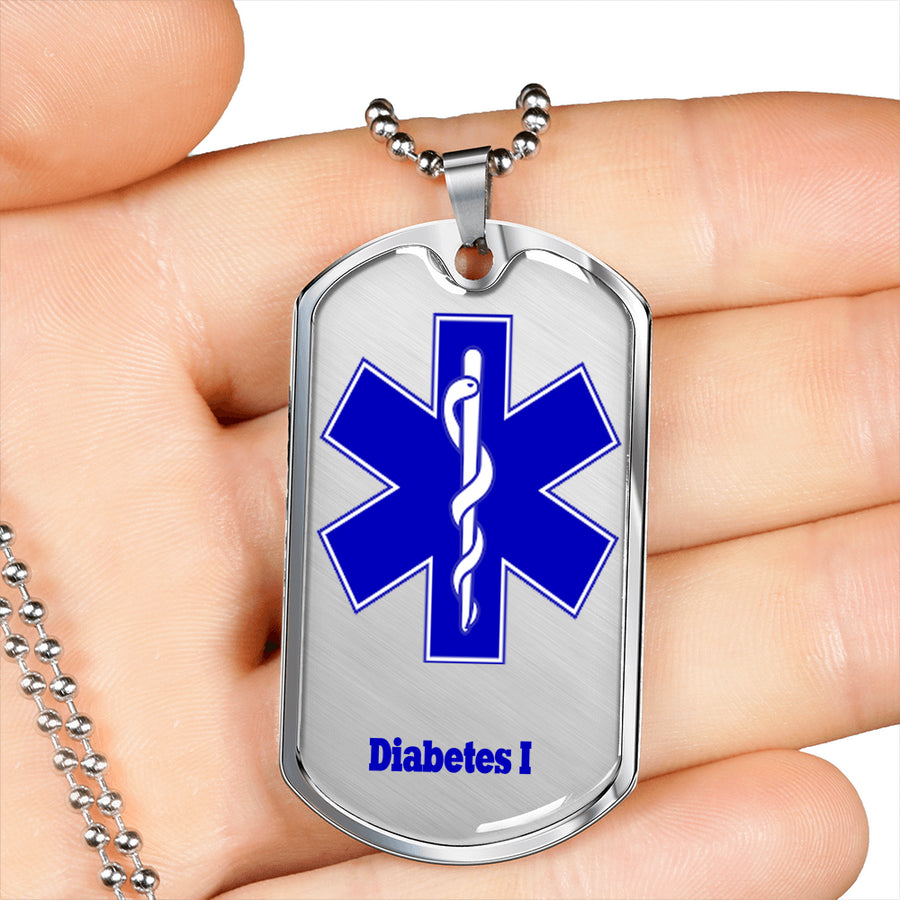 Best-seller Men's Diabetes Dog tag Necklace in Silver or Gold Plated Medical ID Dog Tag