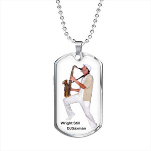 Silver with Gold Option DJSaxman Dog tag