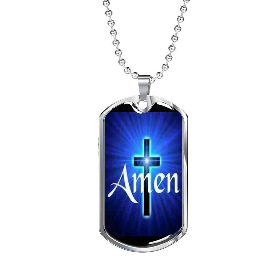 Amen Silver Dog Tag Necklace