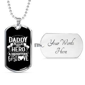 Don't Forget Dad - Birthday or Christmas Gift Daddy 1st Hero Dog Tag with Free Engraving