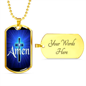 Amen Dog Tag With Gold Upgrade Option and Engraving on Back