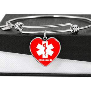 Heart Shaped Medical ID Bracelet | Medical alert Bracelet or diabetes type 2