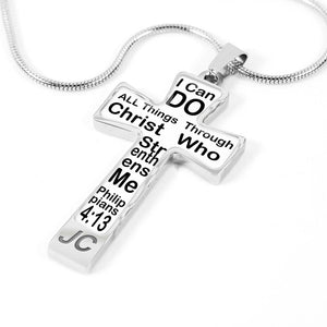"Christian cross necklace mens Hand made Silver Cross Necklace ""I can Do all Things"" scripture black text"